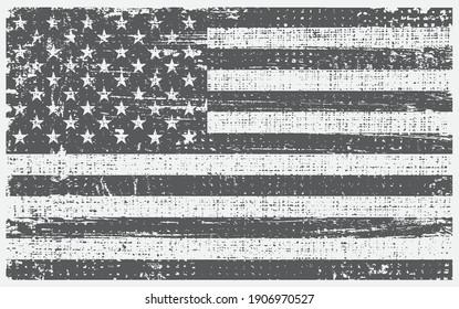 Vintage black and white USA flag. Grunge American Flag.