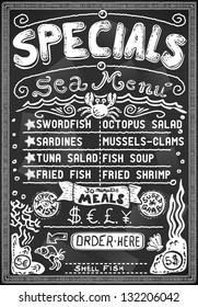 Vintage Blackboard Cut Fish. Sea fish underwater chalk shop. Handwrite Menu Restaurant. Fisher Blackboard. Street Food breakfast gastronomy Vintage Bar Menu Background Infographic Vector illustration