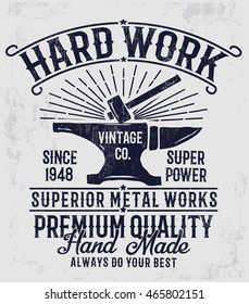 Vintage blacksmith anvil typography design. For t shirt design and other uses.