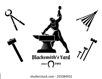 Vintage blacksmith. Hammer and tongs, anvil and craft, logo and tools. Vector illustration