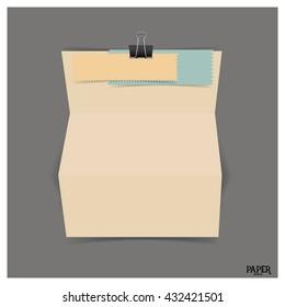 Vintage blank paper brochure mockup. Vector illustration.