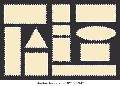 Vintage blank postage stamps isolated on white background.Collection perforated  paper mark. Flat design. Vector illustration.