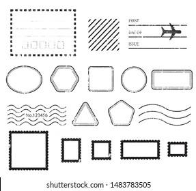 A vintage blank postal stamps and foliage set.illustration vector