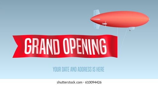 Vintage blimp with grand opening banner vector illustration. Template decorative design element for opening ceremony