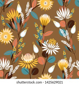 Vintage Blooming protea flowers in the garden full of botanical plants seamless pattern in vector design for fashion,web,wallpaper,wrapping and all prints on retro brown background color