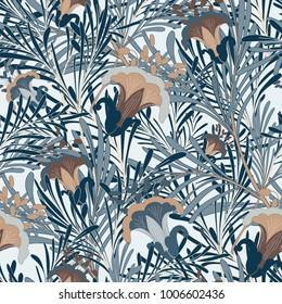 Vintage Blue Botanical Seamless Vector Design