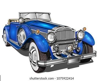 Vintage  blue car.