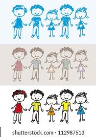 vintage, blue and colorful children background. vector illustration