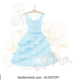 vintage blue dress and roses
