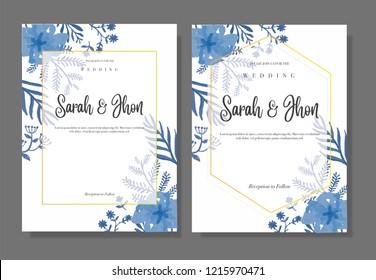 Vintage blue flower wedding invitation template