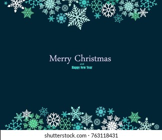Vintage blue, green and silver Christmas frame with elements, snow on dark blue background. EPS10 vector file. Snowflakes, stars with text Merry Christmas. Frame for a Christmas card