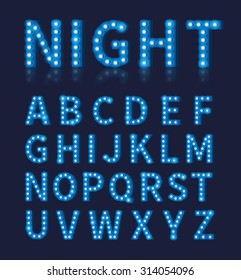 Vintage blue light bulb lamp font or alphabet. Typography design,  font bright glowing decoration, vector illustration