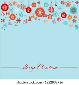 Vintage blue, pink and silver Christmas frame with elements, snow on blue background. EPS10 vector file. Snowflakes, stars with text Merry Christmas. Frame for a Christmas card