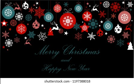 Vintage blue, red and silver Christmas frame with elements, snow on dark black background. EPS10 vector file. Snowflakes, stars with text Merry Christmas. Frame for a Christmas card