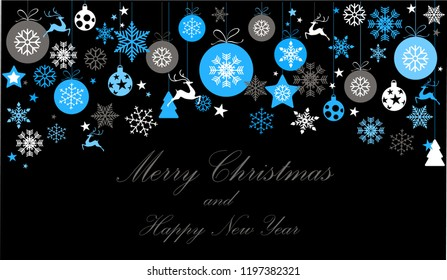 Vintage blue and silver on black background. Christmas frame with elements, snow on dark background. EPS10 vector file. Snowflakes, stars with text Merry Christmas. Frame for a Christmas card