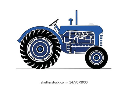Vintage Blue Tractor Side View
