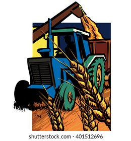 Vintage blue tractor towing a hamper with a large loading arm filling it, harvesting wheat grain.
