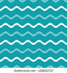 Vintage blue vector simple seamless wavy line pattern
