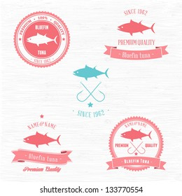 Vintage Bluefin Tuna Badge set | Editable EPS vector illustration