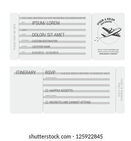Vintage boarding pass stylized wedding invitation