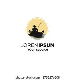 vintage boat fishing silhouette logo