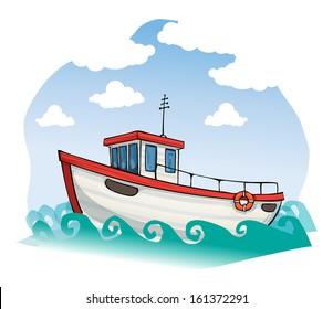 cartoon fishing boat images stock photos vectors shutterstock rh shutterstock com cartoon man fishing in boat Fishing Boat Graphics