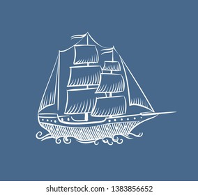 Vintage boat sketch. Hand drawn old pirate sea sailboat or vessel vector doodle sail ship illustration on white background