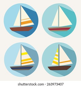 Vintage boat travel icon vector