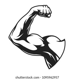 Vintage bodybuilder flex arm template in monochrome style isolated vector illustration