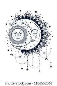 Vintage boho illustration of sun and moon. Dreamcatcher concept