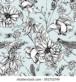 Vintage boho monochrome garden flowers vector seamless pattern, Botanical flower shabby chic pattern wildflowers, dragonflies, bees, ladybird, daisies leaves and twigs Floral design boho elements.