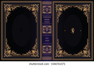 Vintage book cover design. Classic ornament. Royal style design. Golden frames.