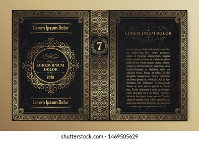 Vintage book layouts and design - covers and pages, classical rich frames, dividers, corners, borders, luxury ornaments and decorations, beautiful pages templates for creative design.