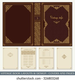 Vintage book layouts and design - covers and pages, classical rich frames, dividers, corners, borders, luxury ornaments and decorations, beautiful pages templates for creative design