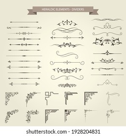 Vintage book vignettes, dividers, corners and separators set, vector
