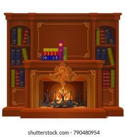 Vintage books lie on the mantel in vintage style isolated on white background. Vector cartoon close-up illustration.