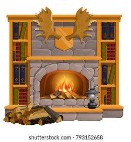 Vintage books lie on the mantel in vintage style isolated on white background. Wall-mounted moose antlers, trophies of the hunter, home comfort. Vector cartoon close-up illustration.