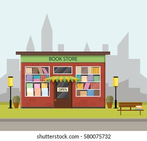 Vintage bookstore. The city's skyline. Flat style. Bookshelves in the shop window. Many books for sale. Landscape. Bench, lights and flowers. Vector illustration.