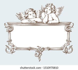 Vintage border frame engraving with Baroque ornament pattern and cupid. Hand drawn vector illustration