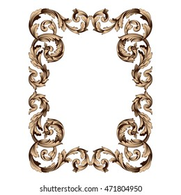 Vintage border frame engraving with retro ornament pattern in antique rococo style decorative design. Royal element of Design on a white background. You can use for wedding invitation.