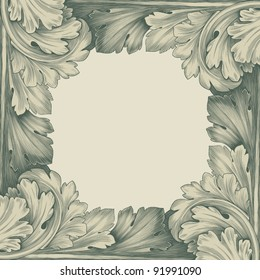 vintage border frame engraving with retro ornament pattern in antique rococo style decorative design vector