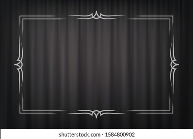 Vintage border in silent film style isolated on dark grey curtain background. Vector retro design element