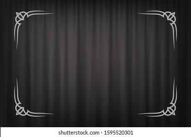 Vintage border in silent film style isolated on dark grey curtain background. Vector retro design element
