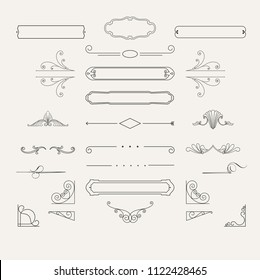 Vintage borders, frame and rosette in set. Wicker lines and old decor elements in vector. Vector page decoration. Decoration for logos, wedding album or restaurant menu. Calligraphic design elements