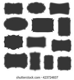 Vintage borders and frames basic set. Vector border and frame collection. Vintage frame for labels. Thirteen isolated vintage frames and borders. Vintage frames and borders silhouettes
