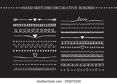 Vintage borders and scroll elements. Hand drawn vector design elements
