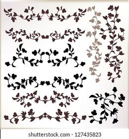 Vintage borders,vignettes. Floral elements. Vector set