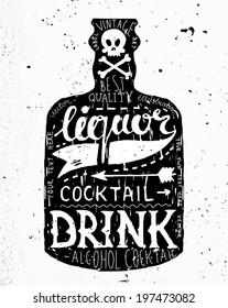 Vintage Bottle Label Design. Retro Typography Elements. Concrete Background Texture.