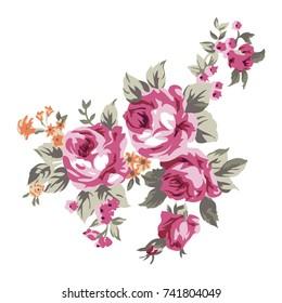 Vintage bouquet of roses, floral design and decoration element vector illustration