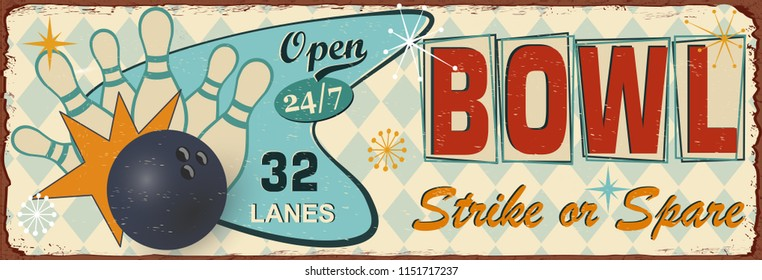 Vintage Bowling  metal sign.